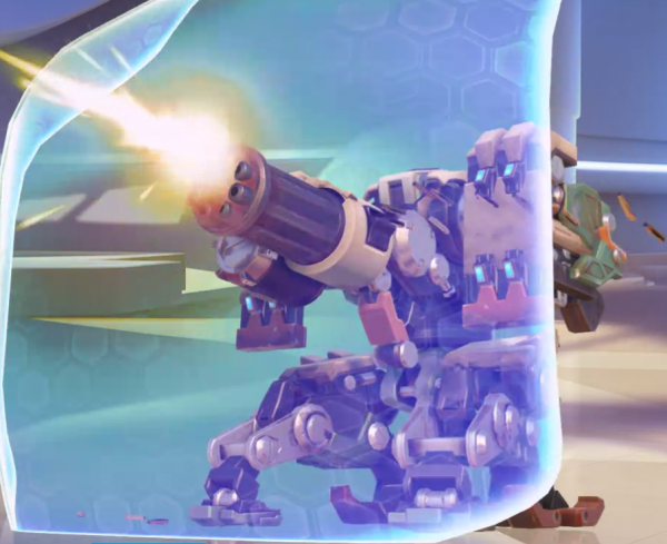 Did you know he used to have a shield, too? Bastion has already caused many broken keyboards, so make sure you counter him when he tries to mow your team down!