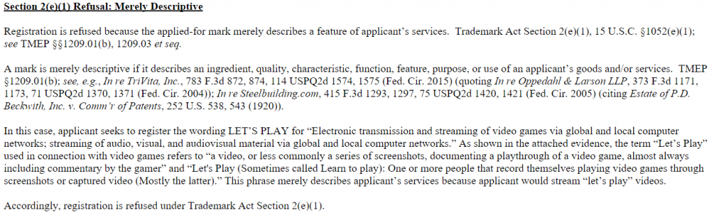 """Part of the United States Trademark and Patent Office's argument for rejecting Sony's """"Let's Play"""" trademark application."""