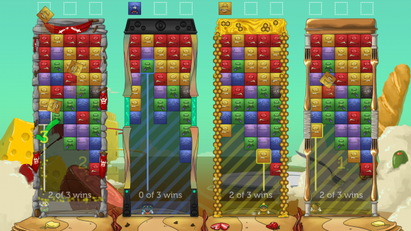 Four player competitive mode of Tumblestone.
