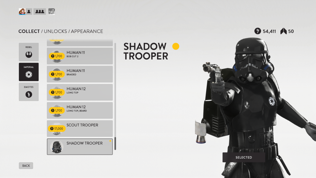 The two high level Empire skins in Star Wars: Battlefront both only have male variants.