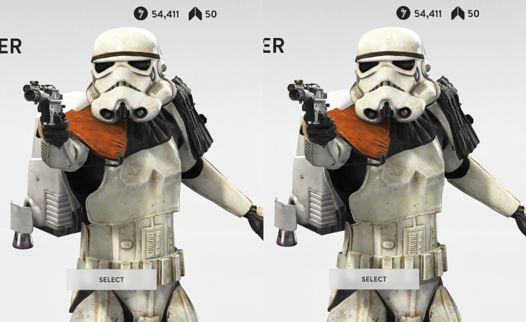 The base Stormtrooper skins in Star Wars: Battlefront (male on the left, female on the right).