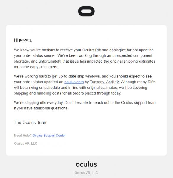 Oculus Rift shipping update