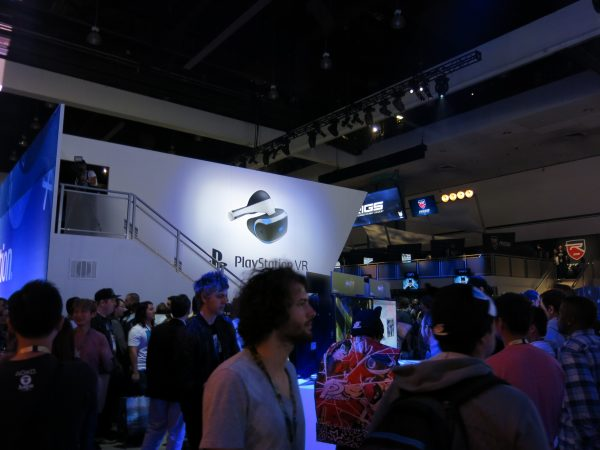 a General booth shot of the upper level where PSVR was being Demoed