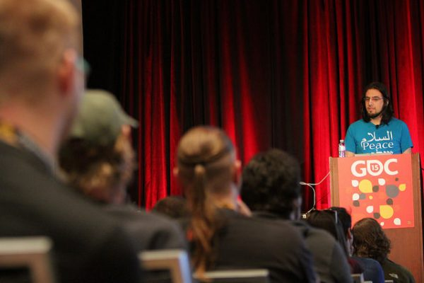 Rami Ismail gives a talk during the Game Developer Conference.